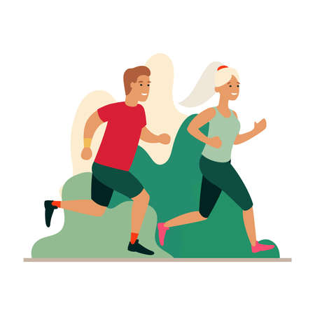 Man and woman running in the park. Couple jogging outdoors. Cartoon flat vector illustration. Run concept.