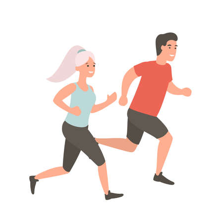 Man and woman running. Couple jogging outdoors. Cartoon flat vector illustration. Run concept.