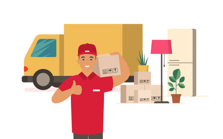 Moving House. Delivery man with cardboard boxes. Moving truck and cardboard boxes. Transport company flat vector concept