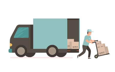 Il corriere prevede la consegna gratuita della merce o dei pacchi postali all'indirizzo. Uomo con scatole di cartone. Illustrazione vettoriale in stile piatto. Servizio di consegna furgone Vettoriali