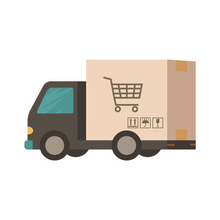 Delivery truck Van in the form of a box. Delivery truck carries online orders. Shipping goods and purchases. Flat style vector illustration delivery service concept. Illustration
