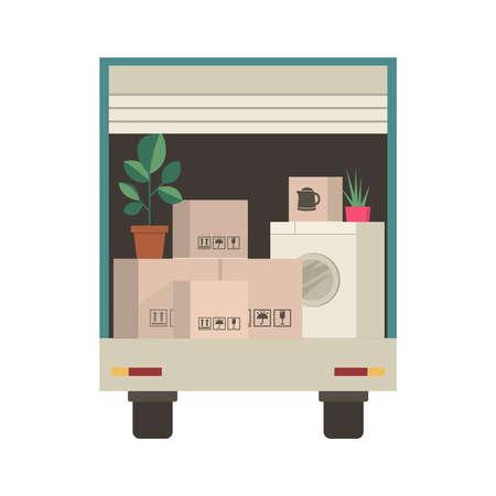 Kartons und verpackte Haushaltssachen im Lieferwagen - Umzug in ein neues Haus oder Büro. Dinge im LKW Vektorgrafik
