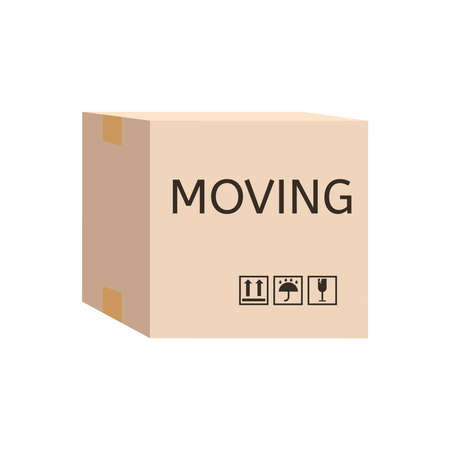 Moving box. Cardboard Box labelled moving. Relocation office concept. Settling in another apartment