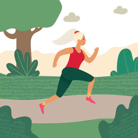 Jogging girl. Workout training outside the city concept. Outdoor running. Flat cartoon vector illustration. Cartoon sporty woman jogging at park.