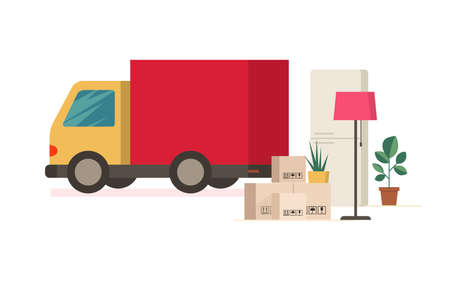 Moving truck and moving boxes outdoors. Flat removal concept. Vector delivery car illustration.