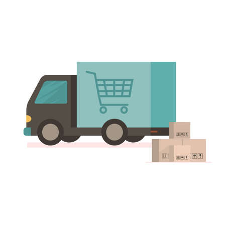 Delivery truck carries online orders. Shipping goods and purchases. Flat style vector illustration delivery service concept.