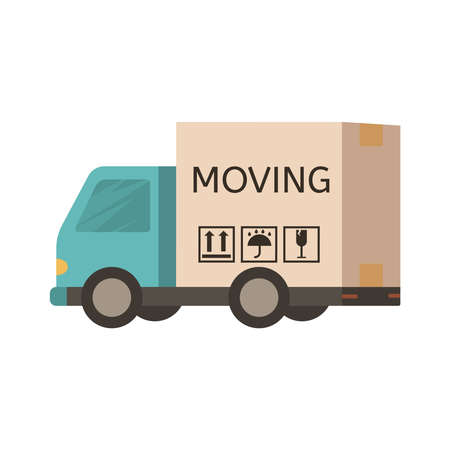 Delivery truck Van in the form of Moving box. Cardboard Box labelled moving. Relocation office concept. Settling in another apartment. Flat style vector illustration