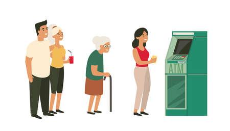 People waiting in line near cash machine. ATM lineup. Old woman, happy couple. Ilustração