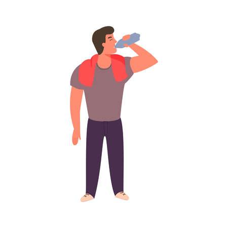 Sportlicher junger Mann trinkt Wasser aus einer Flasche. Fitness- und gesundes Lifestyle-Konzept. Guy löscht Durst nach dem Training. Person nimmt einen Schluck Mineralwasser.