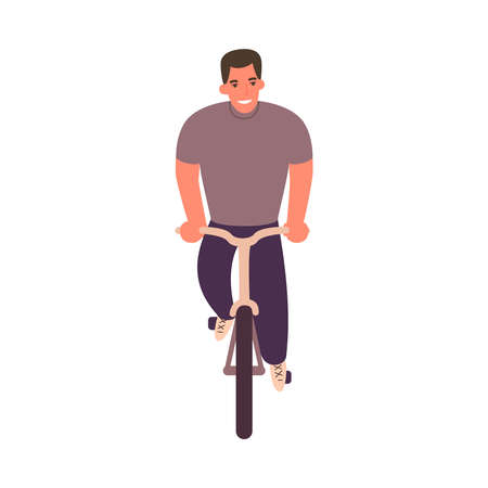 Cartoon man on bicycle. Front view. Person riding on bike. Healthy lifestyle. Ilustração