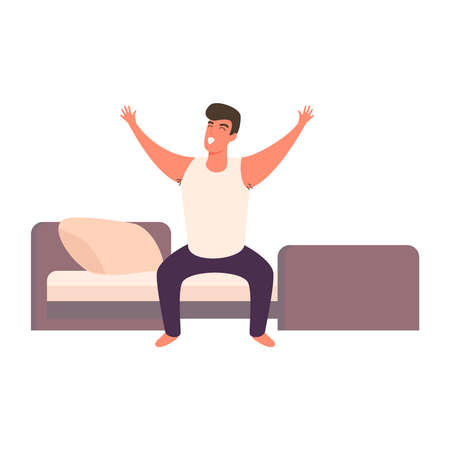 Cartoon man happy waking up in the bed rising hands. Full of energy cheerful guy doing morning gymnastics