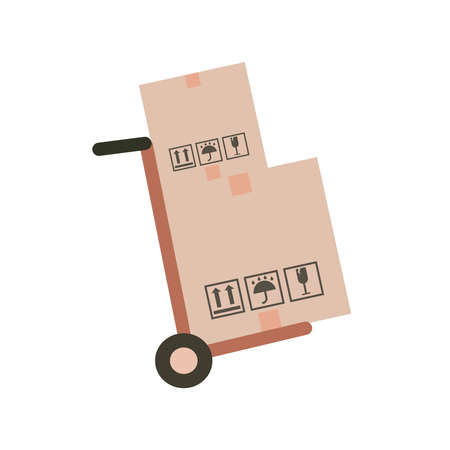 Hand truck and cardboard boxes with purchases.