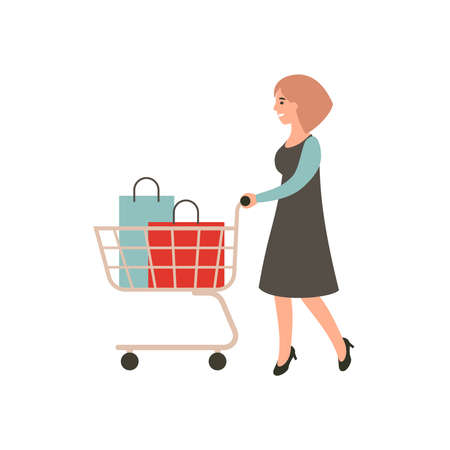 Happy girl with shopping. Woman with shopping cart. Female shopaholic concept art. Cartoon character design. Flat illustration