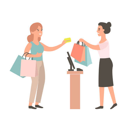 Female cashier gives purchase to the buyer. Customer pulls seller gold credit card. Happy girl shopping in a store. Discounts and sales in the clothing store concept.