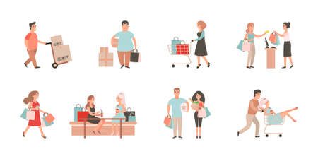 Shopaholic people. Shopping illustration set. Man and woman with bags, cart. Cartoon character purchasing at mall.