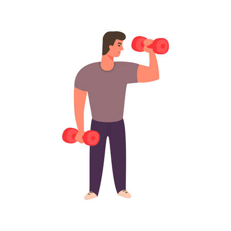 Strong man working out with dumbbells. Athletic guy doing exercise with dumbbell in gym. character design