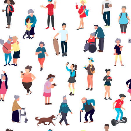 Seamless pattern with cartoon people walking on street. Crowd of male and female tiny characters. Colorful seamless pattern in trandy flat style for wallpaper, fabric print Banco de Imagens