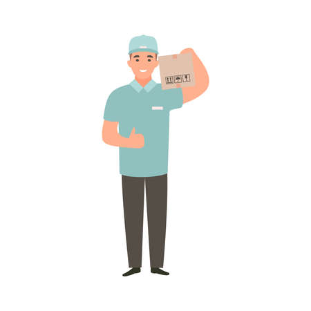 Delivery guy holding box with an order. Deliveryman brought purchases. Cartoon flat character design Banco de Imagens
