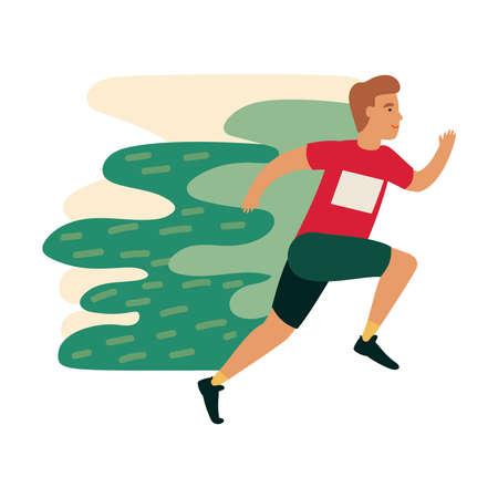 Runner athlete in motion. Athlete sprinter guy on workout. Funny cartoon man running.