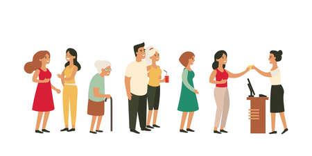 Leute, die in langer Warteschlange am Schalter mit jungen Paarfreundinnen der alten Frau warten. Vektorgrafik