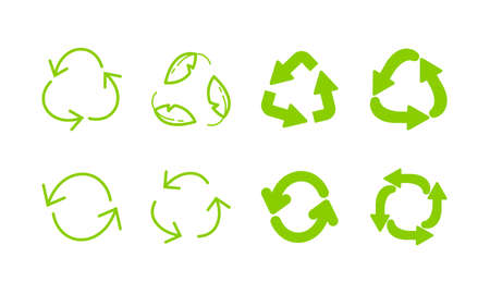 Recycle green eco arrows icon set. Recycling symbol
