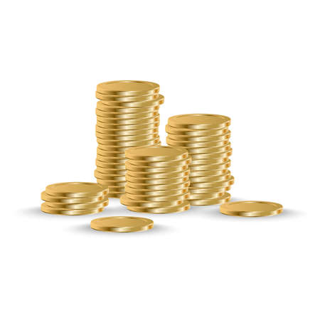 Golden coins stack. Realistic coin money pile