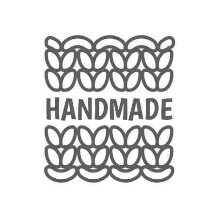 Knitting hand made icon. Knit handmade emblem Illusztráció