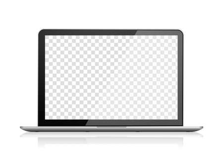 Realistic laptop front view. Notebook empty screen Illusztráció
