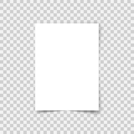 A4 format paper with shadows on transparent