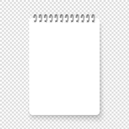 Vertical realistic spiral notepad. Blank notebook. Top view Ilustração Vetorial