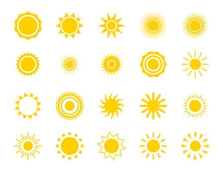 Sun silhouette icon set. Summer circle shape.