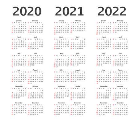 Calendar for 2020, 2021 and 2022 years. Calender Illusztráció