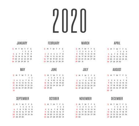 Layout del calendario semplice per gli anni 2020. La settimana inizia da domenica. Design del calendario nei colori bianco e nero, festività nei colori rosso. Illustrazioni vettoriali