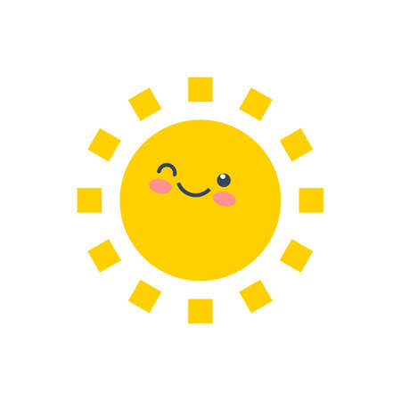 Happy funny smile sun. Cute sunshine kids face.