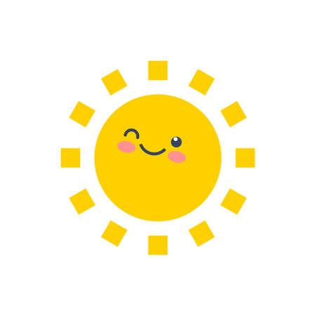 Happy funny smile sun. Cute sunshine kids face.