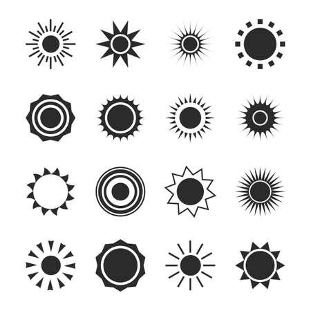 Conjunto de iconos de silueta de sol. Forma de círculo de verano. Calor