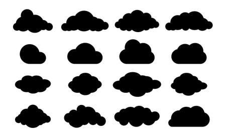 Clouds silhouette. Cloud flat set. Heaven icon.
