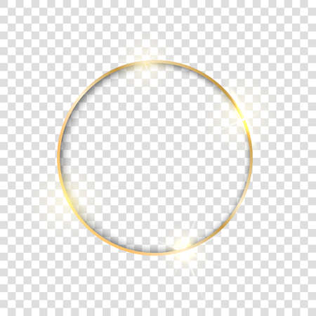 Gold circle frame. Golden luxury glow round border