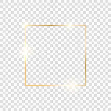 Gold square frame. Golden luxury glow line border