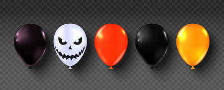 Halloween balloons. Party Happy halloween decor ballon set. Scary air orange, black and white balloons. Creepy face on baloon for sale banners or poster