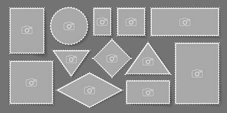 Blank post stamp. Perforated postage sticker set. Stock Illustratie