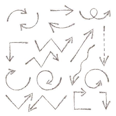 Grunge sketch arrow. Hand drawn ink arrows set. Handdrawn element. Vector illustration graphic element design, web collection of sketch arrows Illusztráció