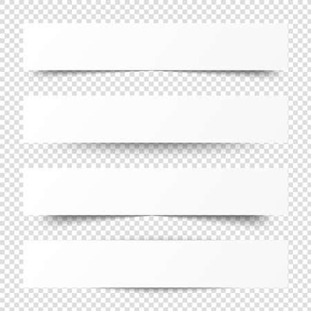 Bandiere bianche vuote con ombra. Bandiera blurb di carta. Intestazione di vettore di Web. Interfaccia con tonalità di grigio