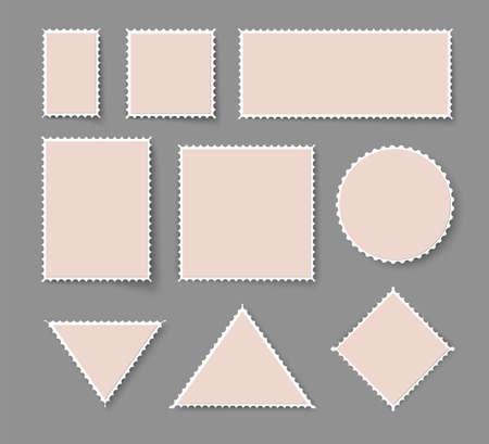 Blank post stamp. Perforated postage sticker set. Illusztráció