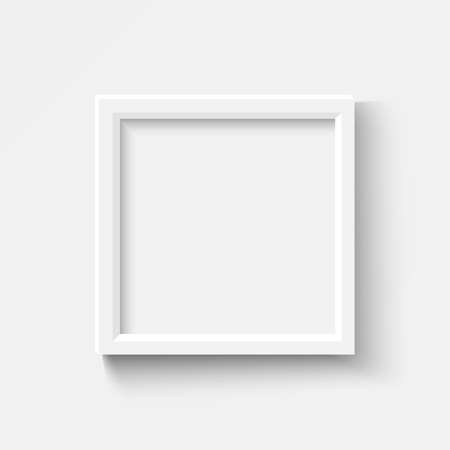 Empty white picture frames set. Square elegant plactic or wooden frame with soft shadow. Vector mockup on transparent background