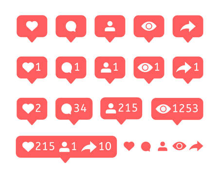 Like, comment, user, view, follower, repost. Social media icons. Vector notification. Bubble message. Flat interface notice