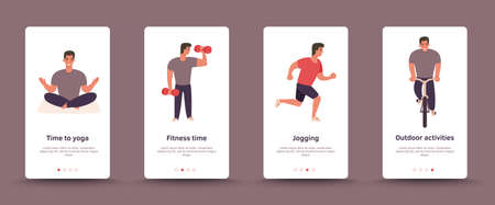 Onboarding outdoor sport screens user interface. Mobile app templates activity concept. Modern user interface UX, UI screen template. Man ride bike, do yoga, run. Outdoor fitness exercise concept.