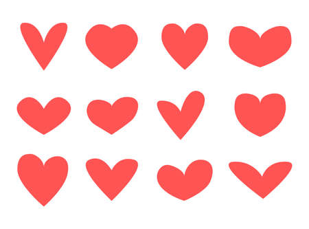 Red hearts icons. Simple vector heart icon set. Cute love sticker collection. Valentines day symbolic various shape. Decorative wedding sign. Illusztráció