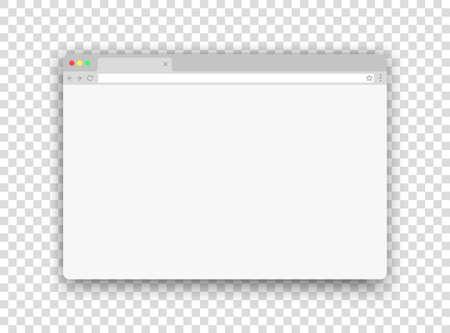Browser new window. Website mockup. Empty simple web bar. Blank flat computer frame template. Vector internet UI design on transparent background