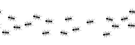 Worker ants marching. Vector ant seamless border. Working team concept.